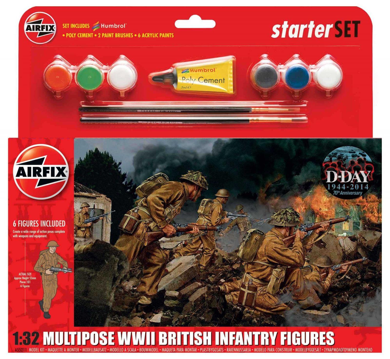 Starter Set figurky A55211 - WWII British Infantry Multipose (1:32) Plastikové modely