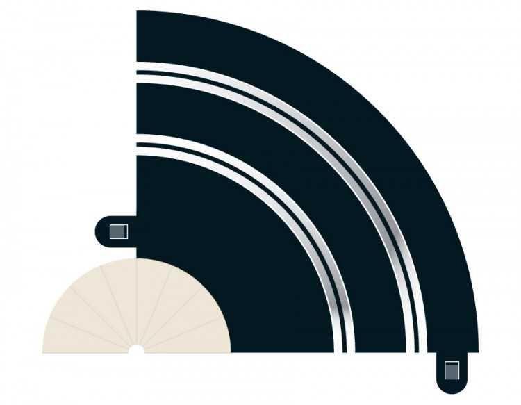 Rozšíření trati SCALEXTRIC C8201 - Radius 1 Hairpin Curve 90° (2) Plastikové modely