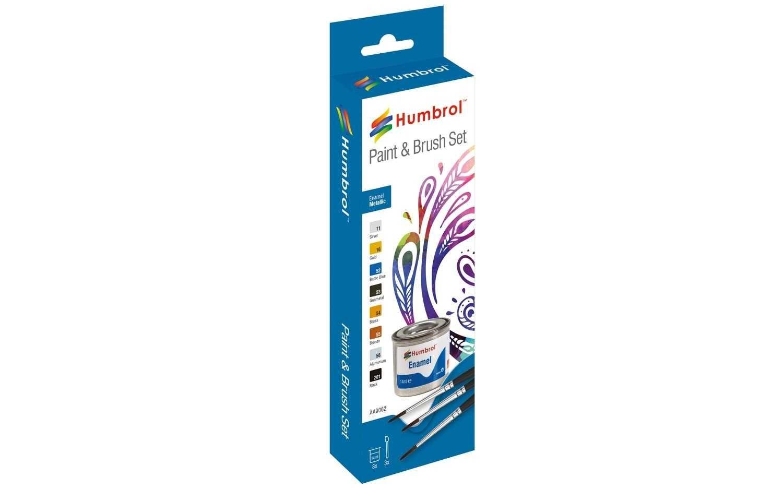 Humbrol sada emailových barev a štětců AA9062 - Metallic Plastikové modely